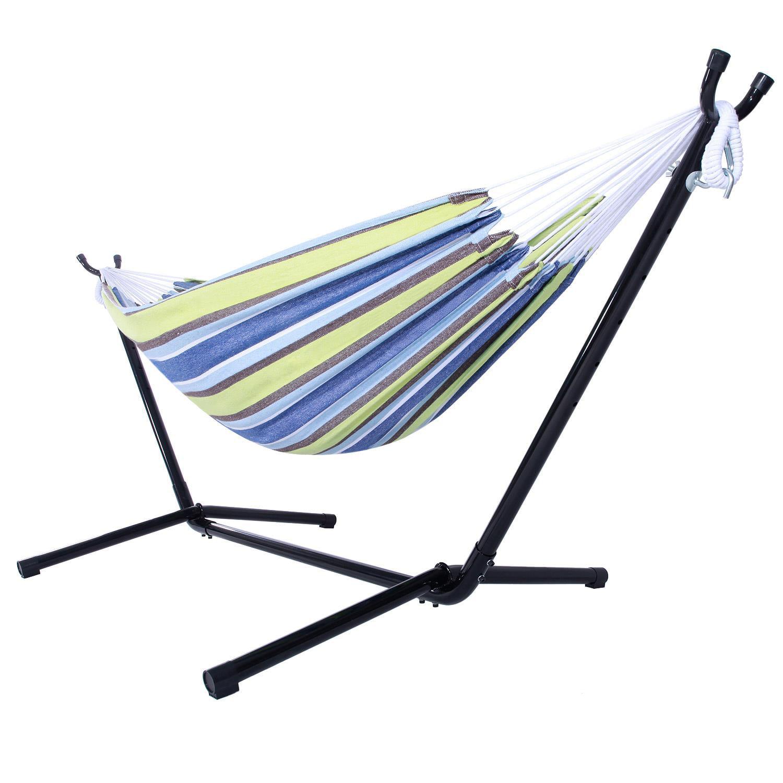 Ktaxon Portable Outdoor Polyester Hammock Set Garden Swing Set  indoor Swing Bed Spreader With Space Saving Steel Stand