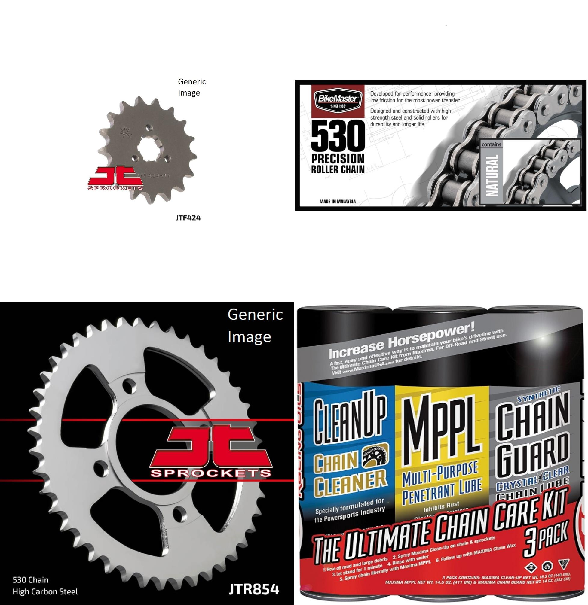 BIKEMASTER 530 Precision Roller Chain Natural with MAXIMA Wax, JT Front & Rear Sprocket Kit for Street YAMAHA XS400 2F 1979