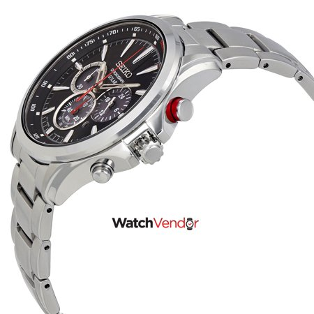 Seiko Solar Chronograph Black Dial Stainless Steel Men's Watch SSC493 - image 1 de 3