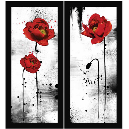 Wall Art Set Of 2 black and red lowers floral wall art, set of 2 - walmart
