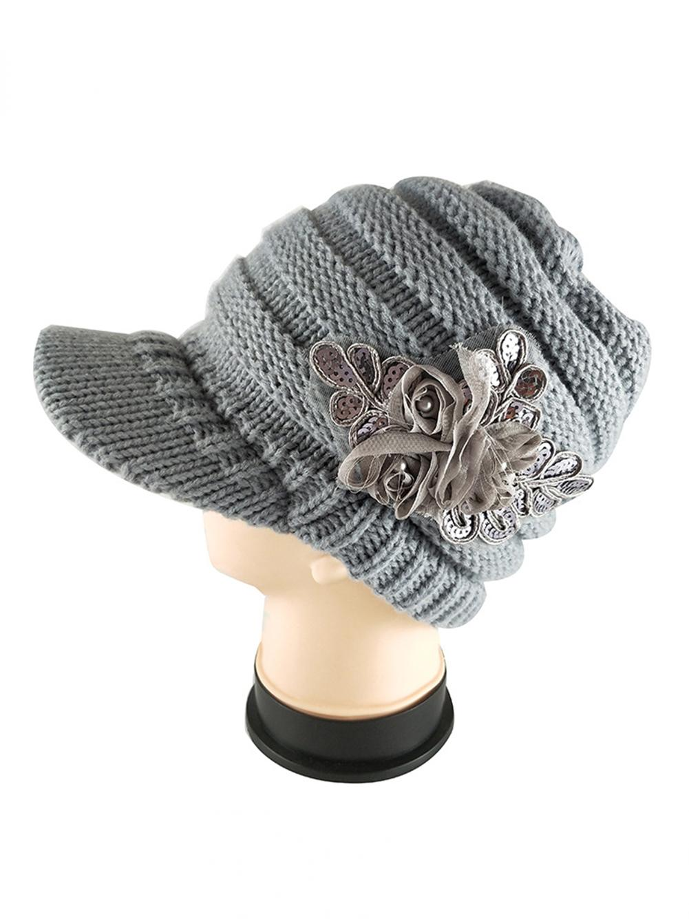 Fashion Winter Women Woolen Yarn Plain Weave Knitting Sequins Flower Visor  Hat 8961f4cfe9c