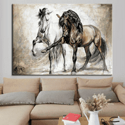 Horse Portrait Painting Horse Canvas Art for Wall Decor Framed Painting for Living Room Decoration Ready to Hang