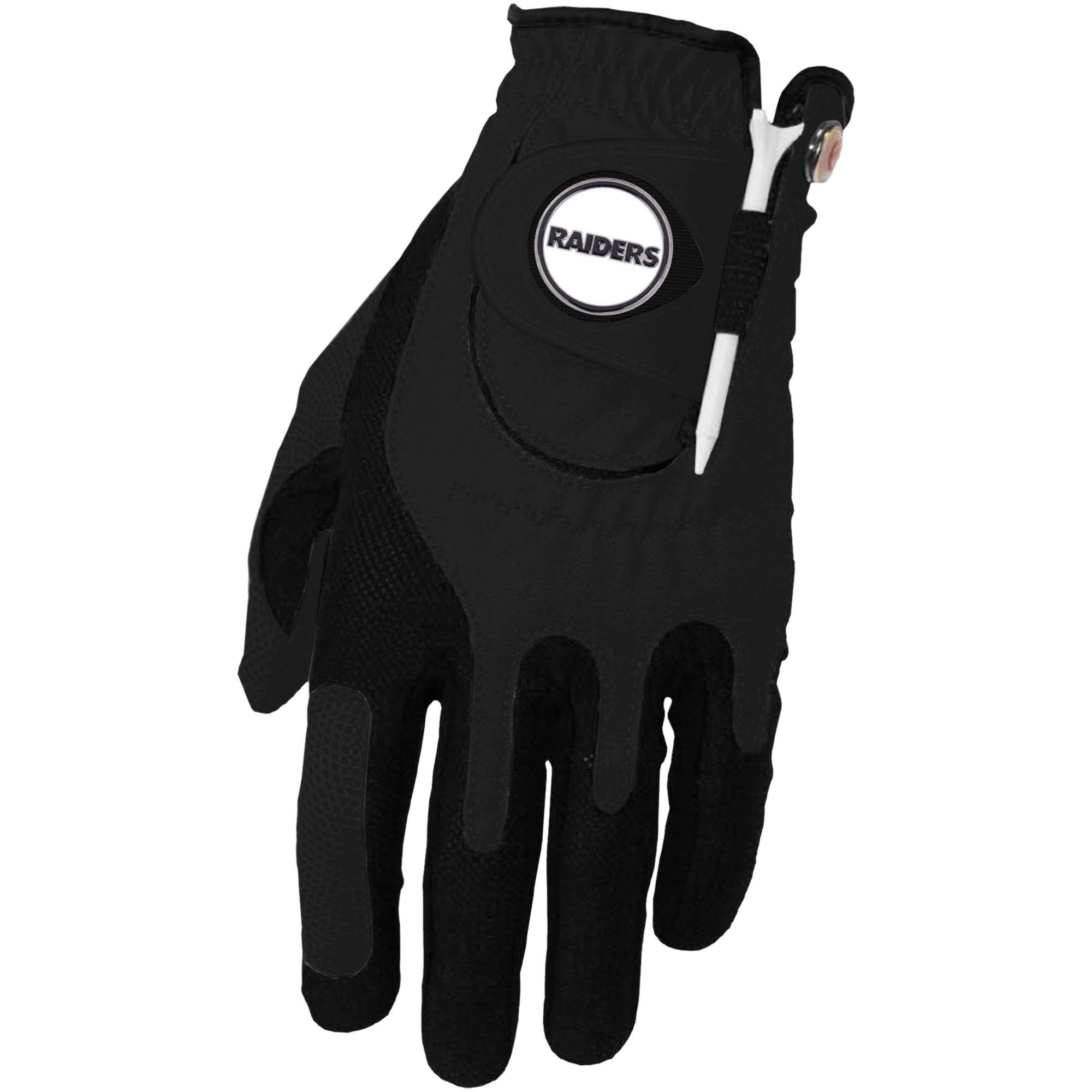 Oakland Raiders Left Hand Golf Glove & Ball Marker Set - Black - OSFM
