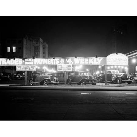 1930s New And Used Car Lot At Night Automobile Sales Sixth Avenue & Waverly Street Greenwich Village New York City Usa Rolled Canvas Art - Vintage Images