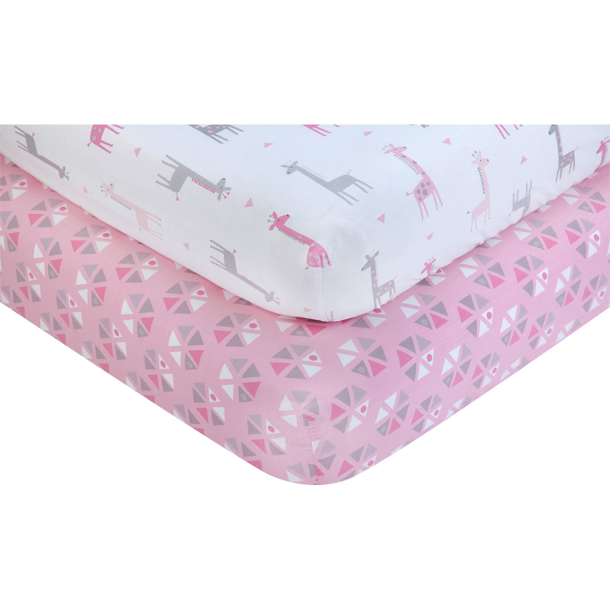Little Love by NoJo Giraffe Time Pink 2-Piece Crib Bedding Sheet Set