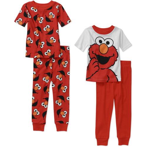 Sesame Street Baby Boys' Elmo 4 Piece Cotton Short Sleeve PJ Set