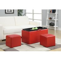 Convenience Concepts Designs4Comfort Sheridan Storage Bench w/ 2 Side Ottomans