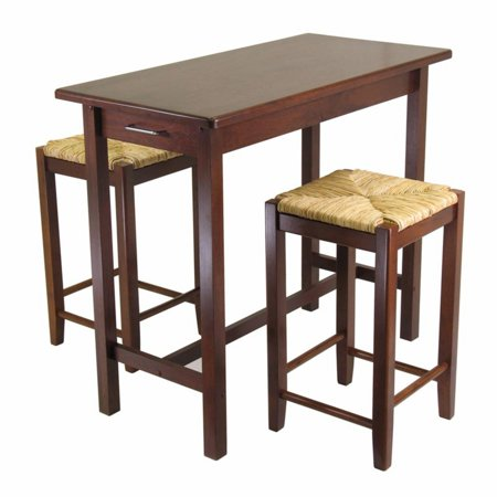 Sally 3-Pc Breakfast Table Set with 2 Rush Seat Stools