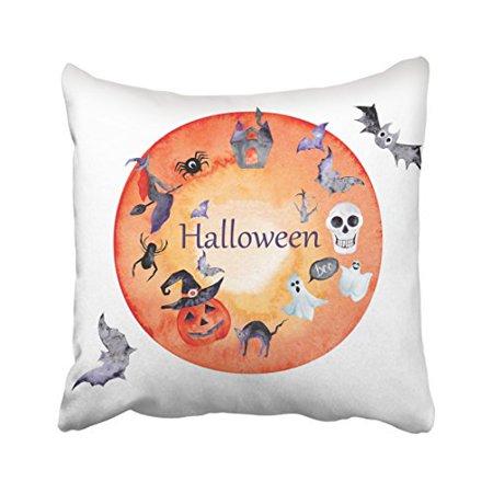 WinHome Halloween Cute Ghost Pumpkin Skull Bats Cat Spider Witch Castle Decorative Pillow Cover With Hidden Zipper Decor Cushion Two Sides 20x20 inches](Cute Halloween Ghost Sayings)