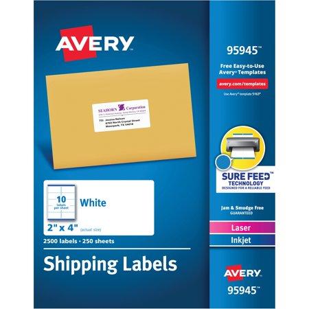 avery white shipping labels laser inkjet 2 x 4 white 2500 per
