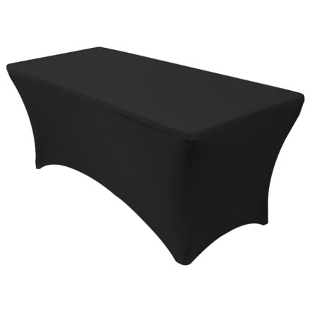 YCC Linen - Stretch Spandex 6 ft Rectangular Table Cover Black - Cheap Table Covers