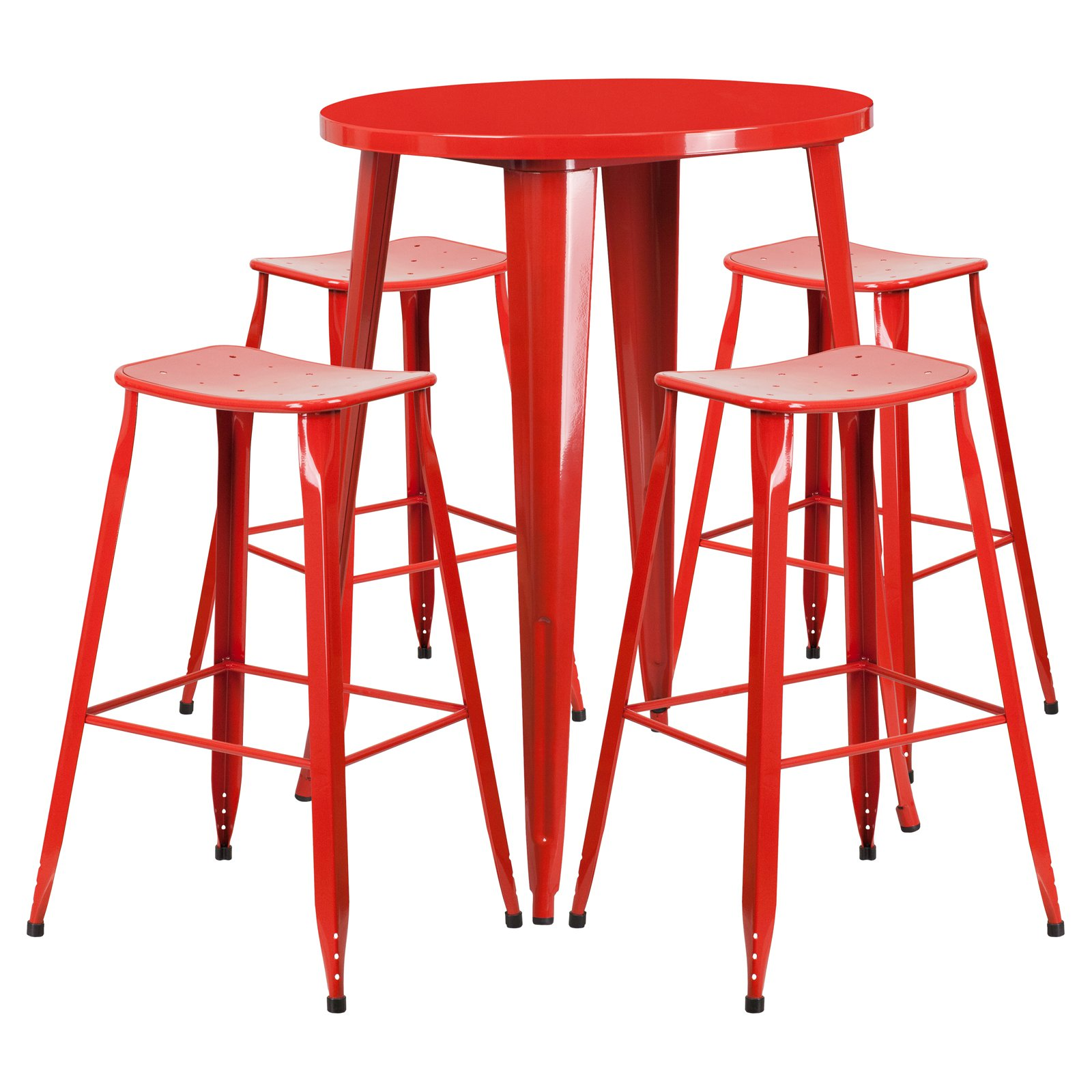 Flash Furniture 30'' Round Red Metal Indoor-Outdoor Bar Table Set with 4 Backless Saddle Seat Barstools