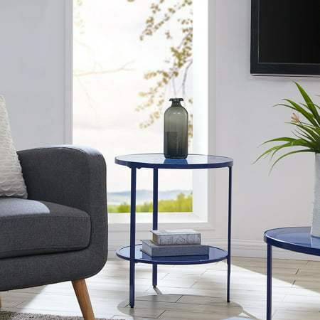 Lahoa Blue Gl Side Table Eclectic Royal