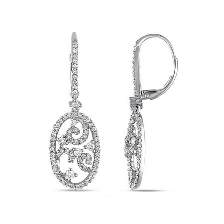 1 Carat T.W. Diamond 14kt White Gold Dangle Earrings