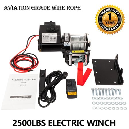 Zimtown 2500lbs 12V Electric Recovery Winch Truck SUV Wireless Remote Control