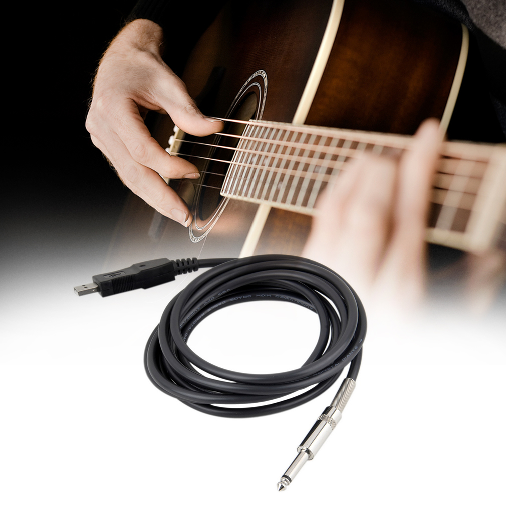 3M Guitar Bass 1 4' USB TO 6.3mm Jack Link Connection Instrument Cable Adapter by