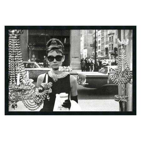 Audrey Hepburn, Breakfast at Tiffany's (Window) Framed Wall Art - 37.41W x 25.41H in. (Audrey Hepburn Breakfast)