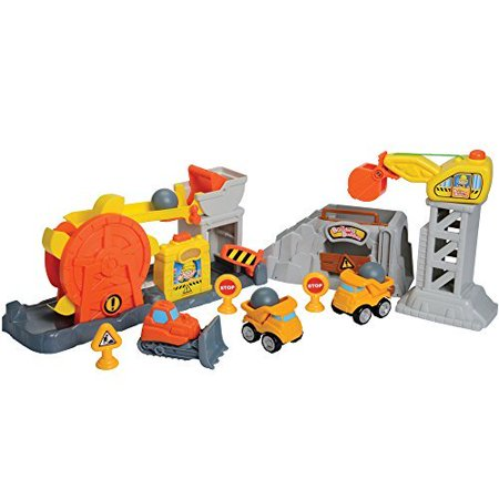 CP Toys Rock Quarry 10 Pc. Playset with 3 Chunky Construction Vehicles for Toddlers