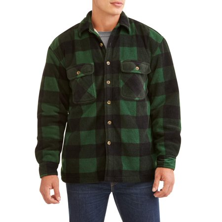 Marino Bay Men's Plaid Print polar fleece Shirt Jacket with Butter fleece sherpa lined, up to size - Polartec Polar Fleece