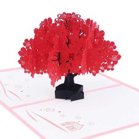 3D Pop Up Kapok Tree Greeting Card for Valentine Lover Birthday Wedding Anniversary