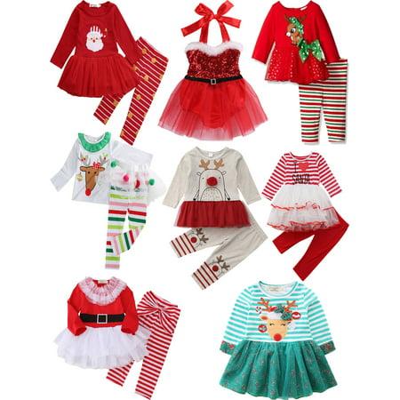 2PCS KID Girl Christmas Top +Dress Polka Princess Christmas Party Clothes Outfit ()