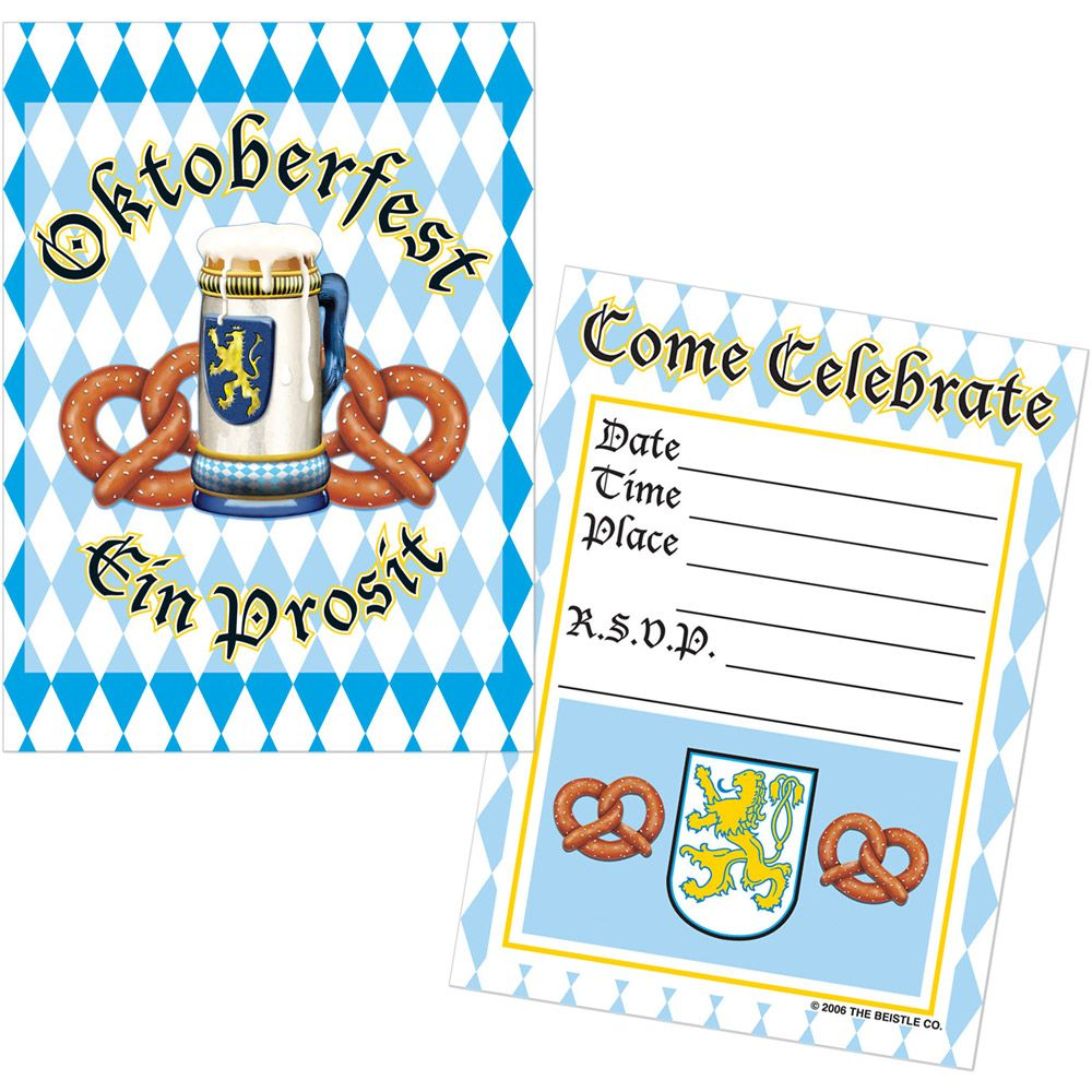 Oktoberfest Invitations (8 Pack) - Party Supplies