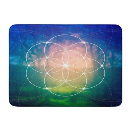 SIDONKU Flower of Life The Interlocking Circles Ancient Symbol Sacred Geometry Doormat Floor Rug Bath Mat 23.6x15.7 inch
