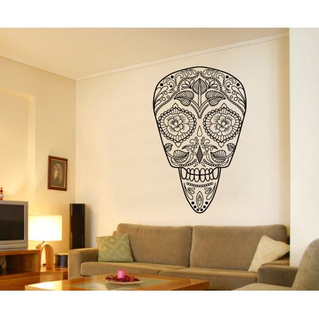 Sugar Skull Day of The Dead BW Wall Decal - Vinyl Sticker - Car Sticker - IDCOLOR063 - 25 Inches - Sugar Skull Halloween Quotes