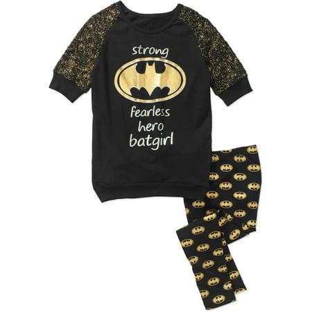 Batgirl Girls' 3/4 Sleeve Sweatshirt with Legging Set (Batgirl Outfits)