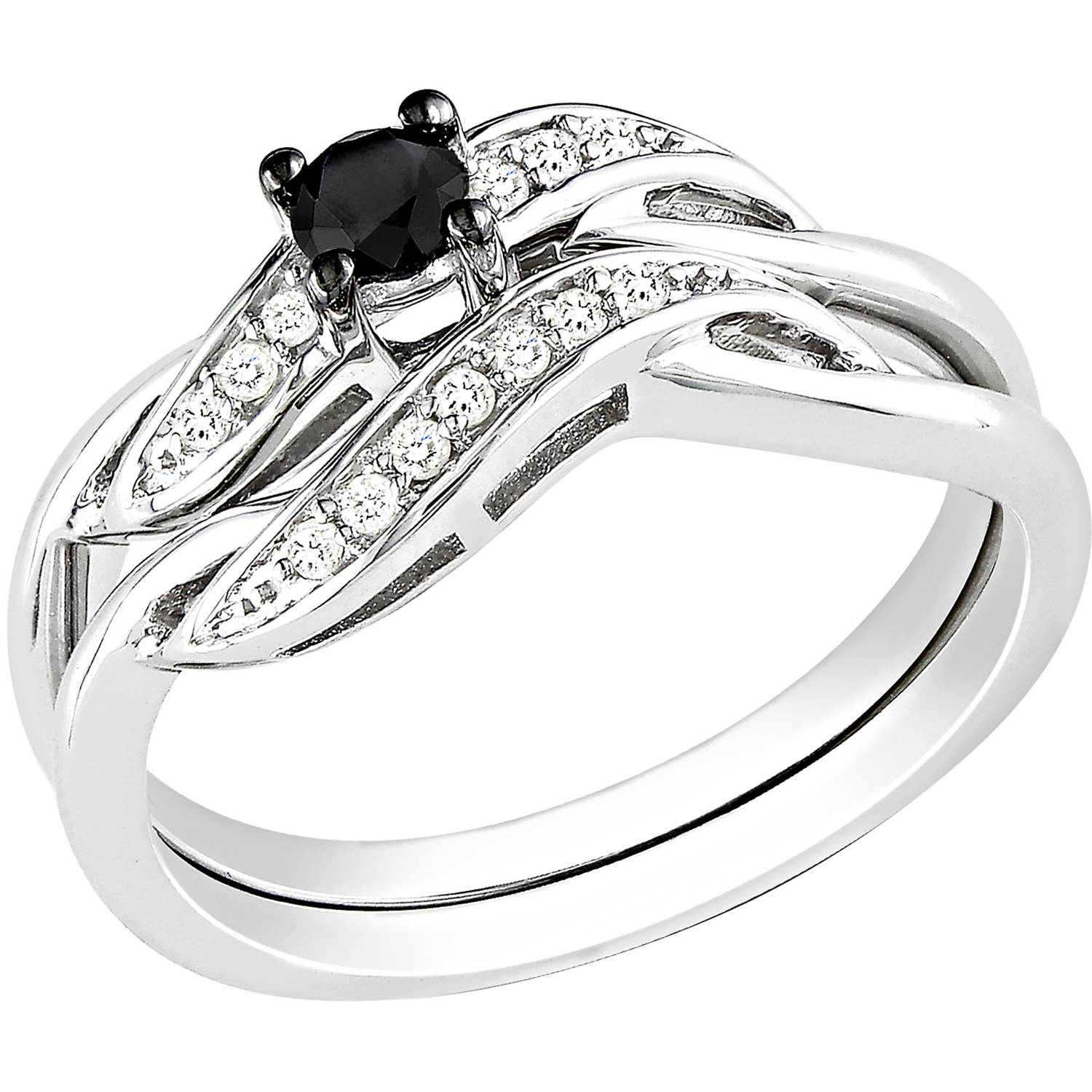 14 carat tw black and white diamond sterling silver bridal ring set walmartcom - Black Diamond Wedding Ring Set