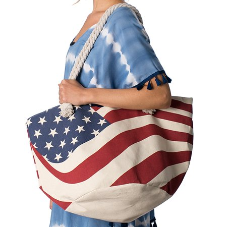 Amtal Women Oversize USA Flag Print Beach Style Tote Handbag w/ Rope Handle