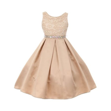 Little Girls Champagne Rhinestone Lace Pleated Satin Flower Girl Dress](Little Girls Casual Dresses)