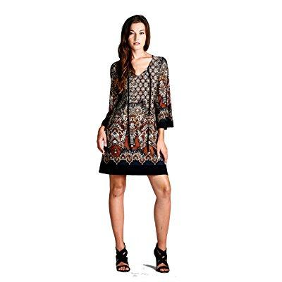 on trend 3/4 sleeve bohemian tunic dress small brown