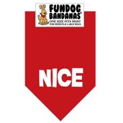 Fun Dog Bandana - Nice (Christmas) - One Size Fits Most for Med to Lg Dogs, red pet scarf