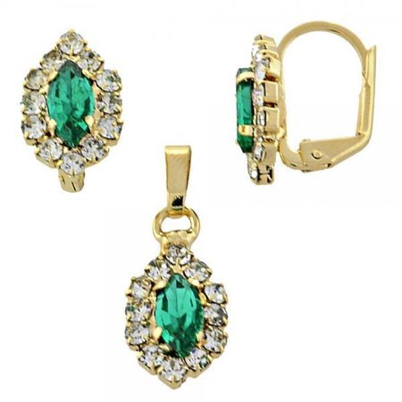 Sophisticated Earring and Pendant Adult Set With Emerald Cubic Zirconia By Folks Jewelry ()
