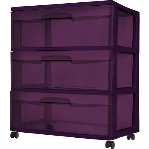 Sterilite 3-Drawer Wide Cart