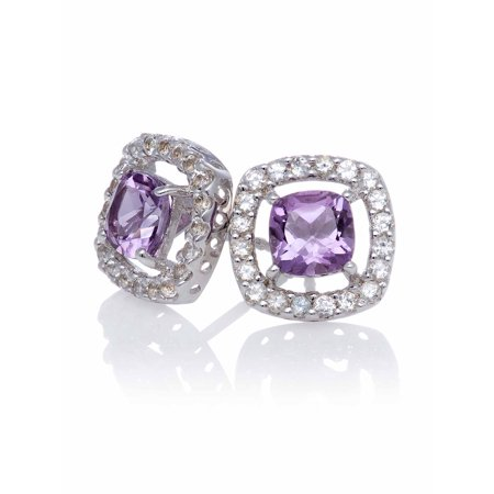 Amethyst Cushion-Cut with White Topaz Halo Sterling Silver Stud Earrings