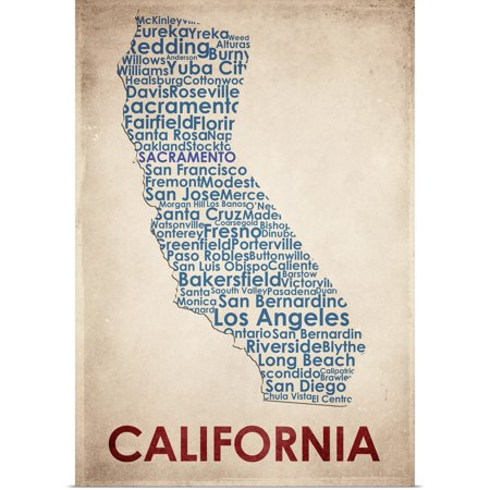Great BIG Canvas | Rolled American Flat Poster Print entitled California