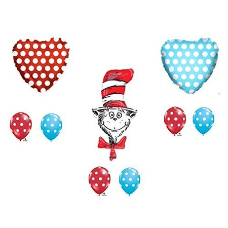 Cat And The Hat Birthday (9 pc. Dr. Seuss The Cat In The Hat Happy Birthday Balloons Decoration Supplies Party Baby)