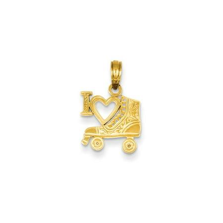 14k Roller - 14K Yellow Gold I Heart Roller Skating (15mm x 12mm)