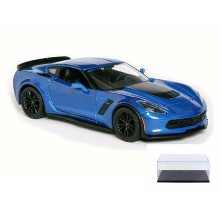Diecast Car & Display Case Package - 2015 Chevrolet Corvette Z06, Blue - Maisto 31133 - 1/24 Scale Diecast Model Toy Car w/Display Case Blue Two Tone Corvette
