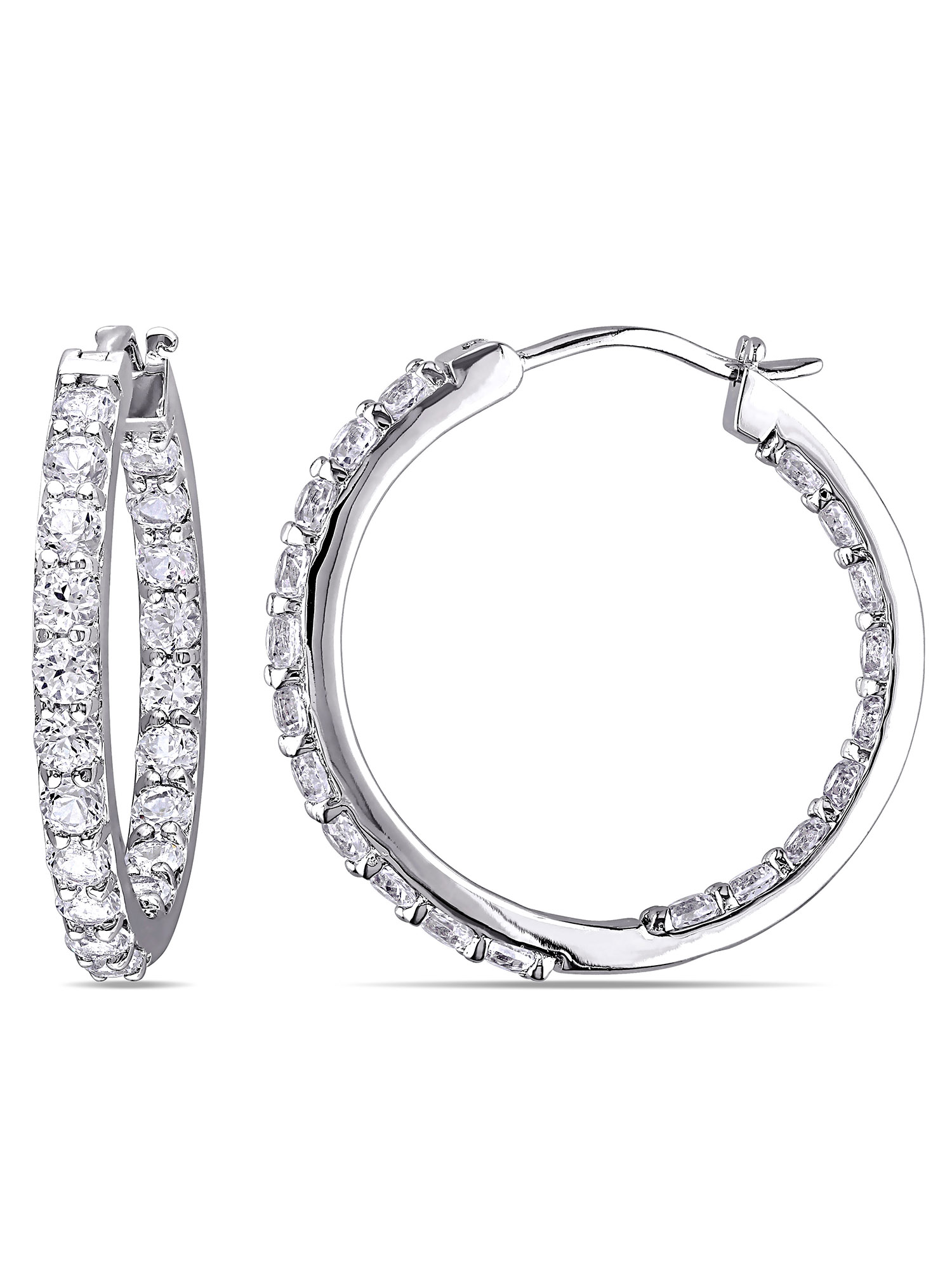 Miabella 3-1/2 Carat T.G.W. Created White Sapphire Sterling Silver Hoop Earrings