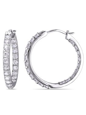3-1/2 Carat T.G.W. Created White Sapphire Sterling Silver Hoop Earrings