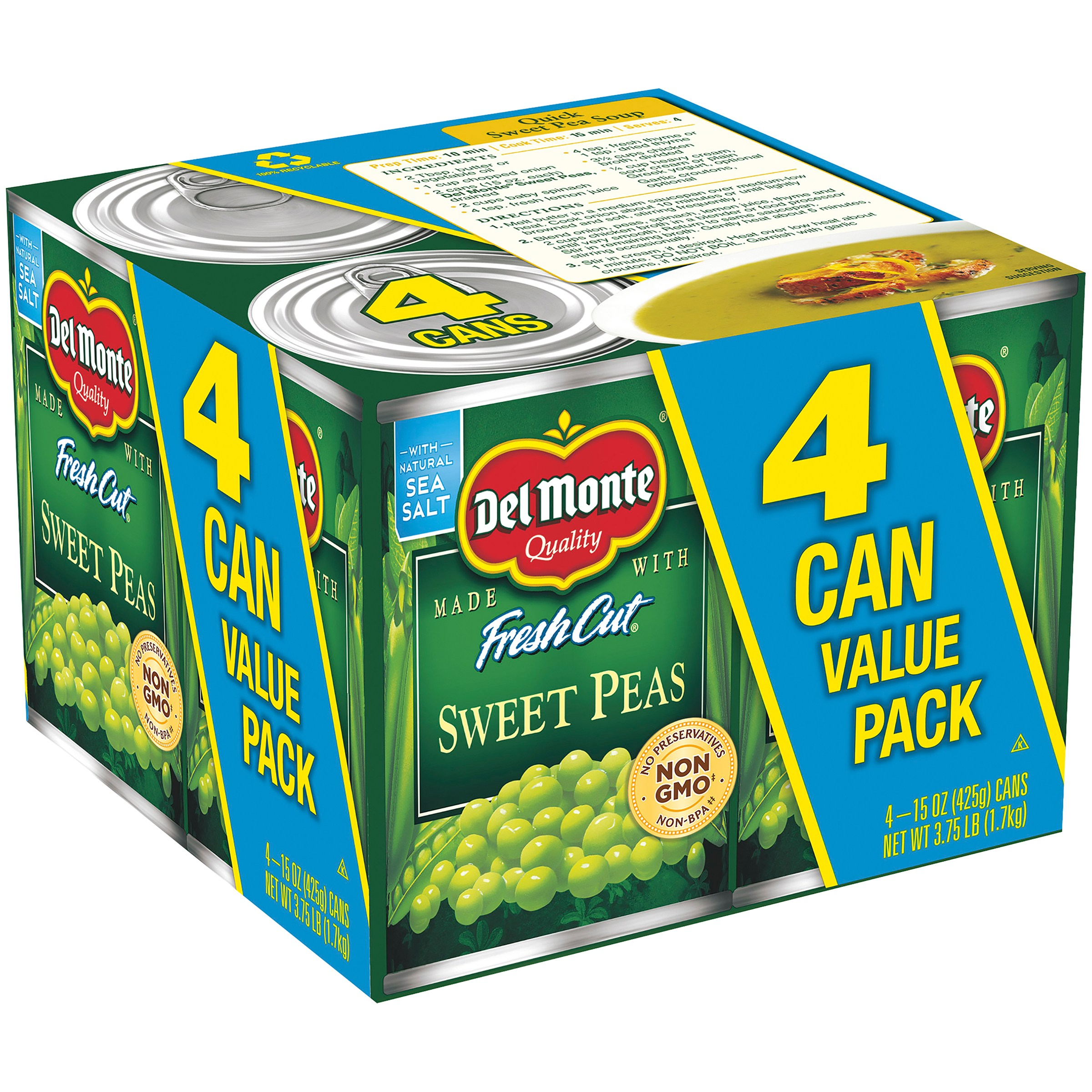 Del Monte Fresh Cut Sweet Peas, 15 Oz, 4 Count Box