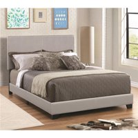 Benzara BM182798 Leather Upholstered California King Size Platform Bed, Gray - 45.75 x 76.5 x 91.25 in.