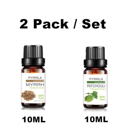 Aromatic Patchouli Oil (PYRRLA 2 Bottles 10ml Aromatherapy Essential Oil Set Natural Aromatic Aromatherapy Essential Oil Humidifier-Myrrh And Patchouli Essential Oils)