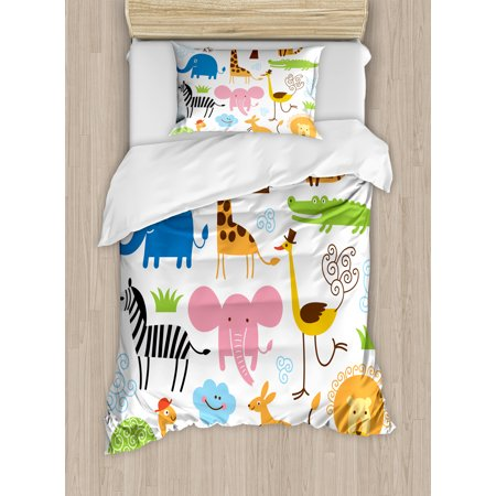 Animal Duvet Cover Set, Cute Giraffe Elephant Zebra Turtle Kids Nursery Baby Themed Cartoon Comic Print, Decorative Bedding Set with Pillow Shams, Multicolor, by