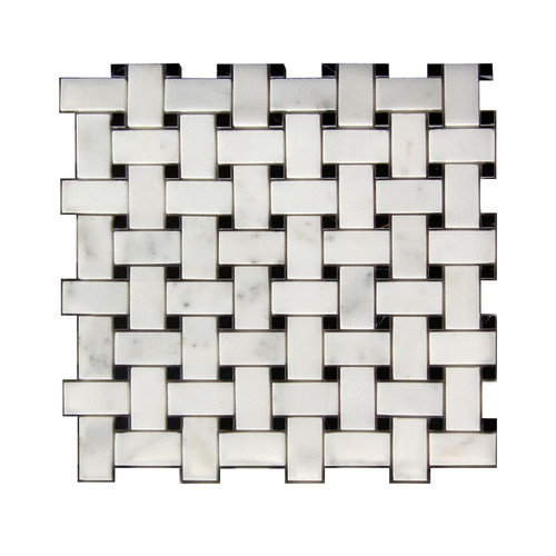 Legion Furniture 1'' x 2'' Stone Mosaic Tile in White