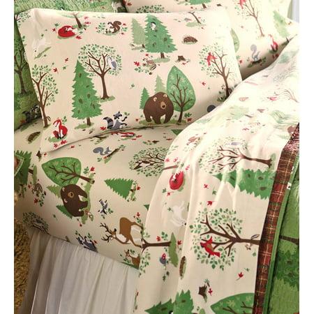 Woodland Friends Flannel Sheet Set In Twin Walmart Com