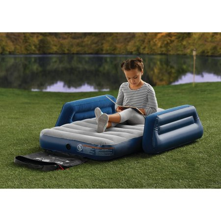 Ozark Trail Kids Camping Airbed with Travel Bag This Ozark Trail Kids Camping Airbed is the perfect sleep destination for kids as they explore the outdoors or for their next indoor sleep-over. The airbed is the perfect size for your little traveler measuring 57 in. long and 30 in. wide. For the utmost comfort and durability this airbed can support up to 110lbs. The armrests are designed to keep kids secure and comfortable on the sleep surface. The velvet flocking also helps kids from slipping and sliding through the night. An interlocking quick release valve on the airbed allows for a quick set up in minutes when ready to use and fast deflation when it?s time to store it away. Upon storing the Ozark Trail Kids Camping Airbed pack it away into the attached carry bag.